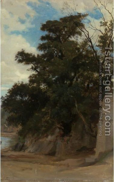 Trees In A Coastal Landscape by William-Adolphe Bouguereau - Reproduction Oil Painting