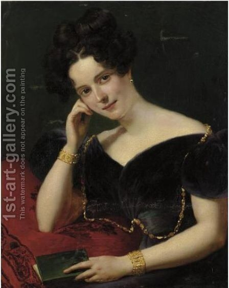 Portrait Of A Lady With Book by (after) Claude-Marie Dubufe - Reproduction Oil Painting