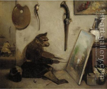 The Artist In His Studio by Alexandre Gabriel Decamps - Reproduction Oil Painting