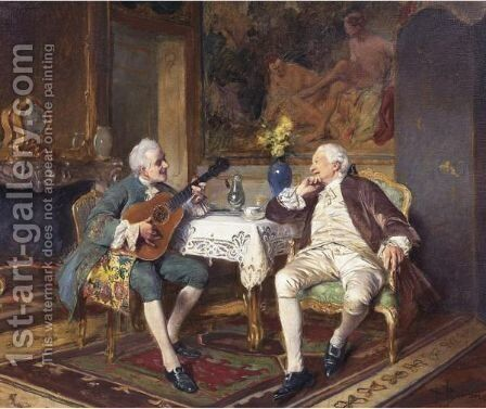 A Musical Interlude by Bernard-Louis Borione - Reproduction Oil Painting