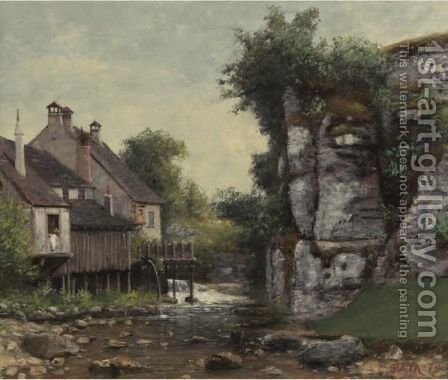 The Mill At Hauteville, Near Vevey by Cherubino Pata - Reproduction Oil Painting