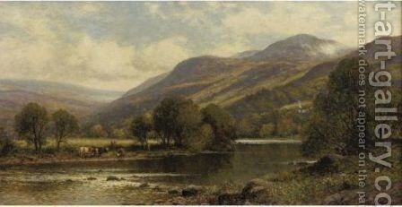 River Landscape With Watering Cattle by Alfred Glendening - Reproduction Oil Painting