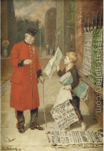 The Latest News by Augustus Edward Mulready - Reproduction Oil Painting