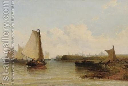 View Of Boats In Harbor by Arthur Joseph Meadows - Reproduction Oil Painting