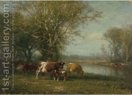 Landscape With Cattle 2 by James McDougal Hart - Reproduction Oil Painting