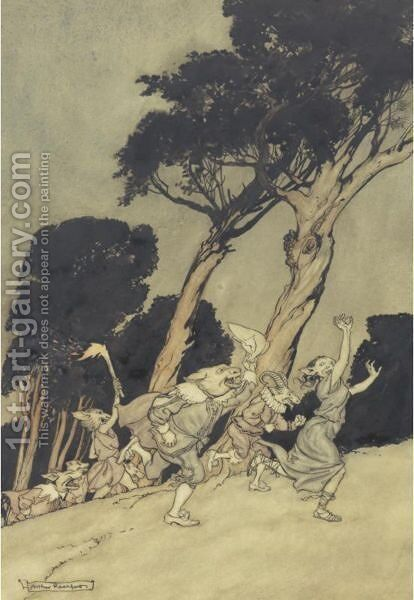 The Wonted Roar Was Up Amidst The Woods by Arthur Rackham - Reproduction Oil Painting