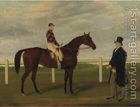 Merry Lass, Rees Up, With Owner Mr. Davis On Brecon Racecourse by James Loder - Reproduction Oil Painting