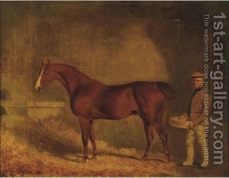 Chestnut Stallion With Groom by T. Temple - Reproduction Oil Painting
