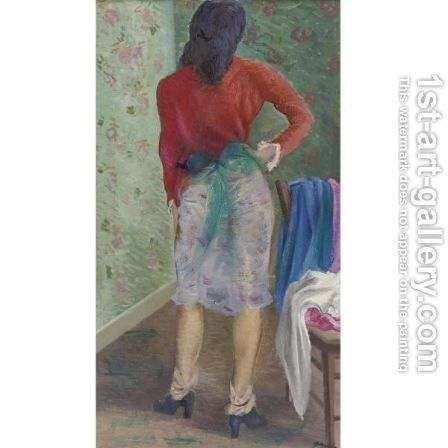 The Artist's Wife In An Interior by Emil Ganso - Reproduction Oil Painting