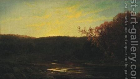 Autumnal River Landscape by American School - Reproduction Oil Painting
