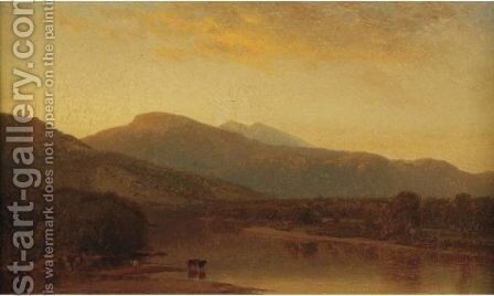 Pastoral River Valley Landscape by American School - Reproduction Oil Painting