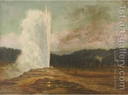 Old Faithful Geyser, Yellowstone National Park by Grafton Tyler Brown - Reproduction Oil Painting