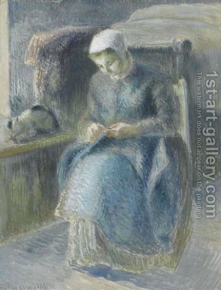 Femme Cousant by Camille Pissarro - Reproduction Oil Painting