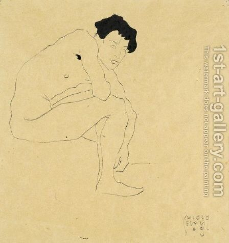 Sitzender Mannlicher Akt (Seated Male Nude) by Egon Schiele - Reproduction Oil Painting