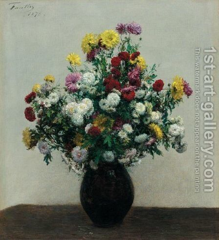 Chrysanthemes by Ignace Henri Jean Fantin-Latour - Reproduction Oil Painting