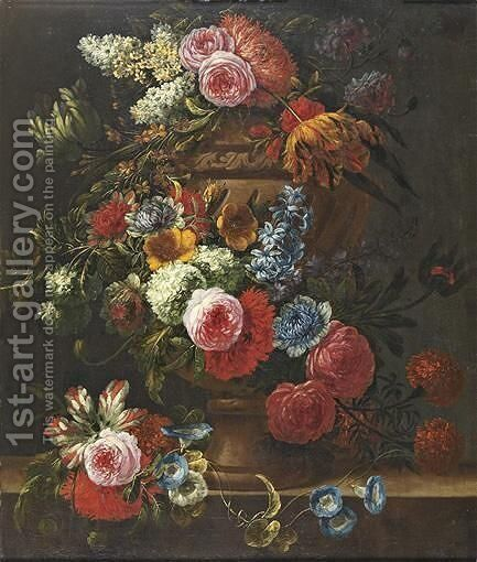 Still Life Of Flowers In An Urn by Jan-baptist Bosschaert - Reproduction Oil Painting