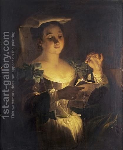Young Woman Reading A Letter by Jean Raoux - Reproduction Oil Painting