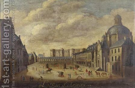 The Bastille Seen From The Rue St. Antoine by Ecole Francaise, Xixeme Siecle - Reproduction Oil Painting