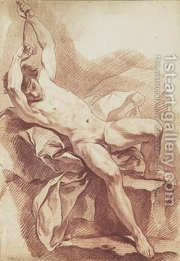 Study Of A Male Nude by Carle van Loo - Reproduction Oil Painting