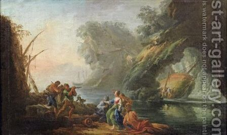 A Mediteranean Lanscape With Figures In The Foreground by (after) Carlo Bonavia - Reproduction Oil Painting