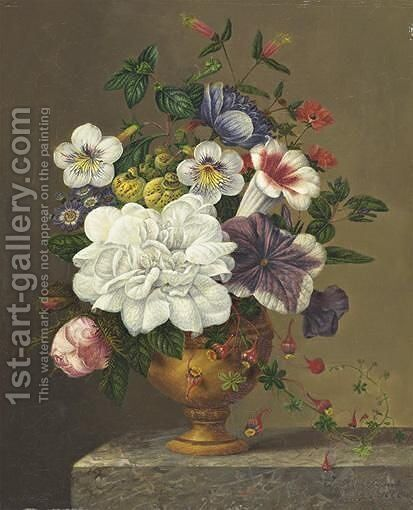 Vase Of Flowers by (after) George Jacobus Johannes Van Os - Reproduction Oil Painting