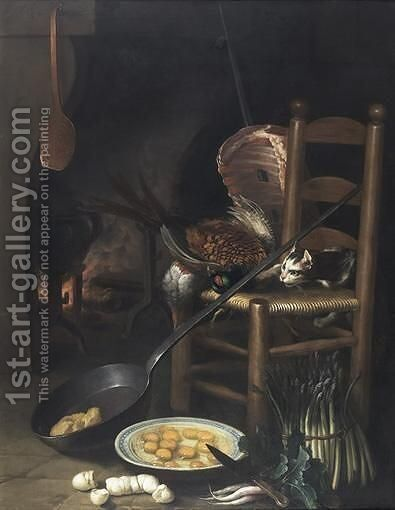 Still Life In A Kitchen With A Fireplace by Claude Francois Desportes - Reproduction Oil Painting