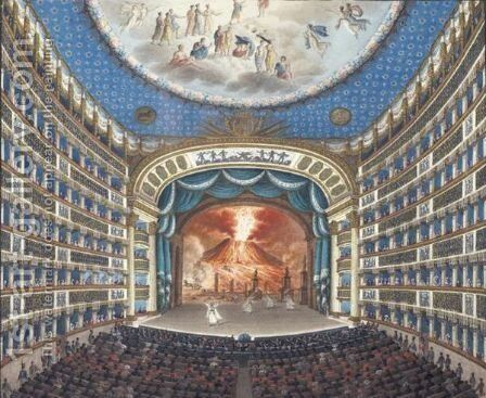 Interior Of  San Carlo's Theatre In Naples by Ecole Italienne - Reproduction Oil Painting