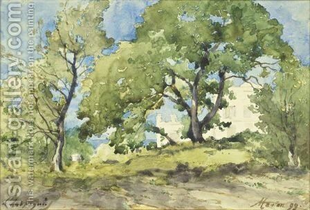 View Of Menton by Henri-Joseph Harpignies - Reproduction Oil Painting