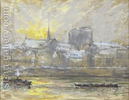 Notre Dame De Paris In Winter by Siebe Johannes ten Cate - Reproduction Oil Painting