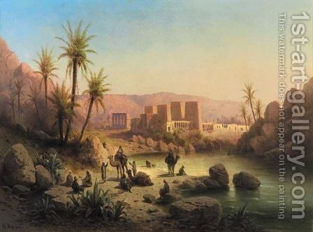The Island Of Philae, Egypt by Albert Rieger - Reproduction Oil Painting