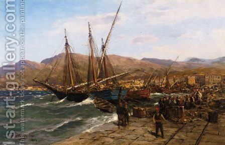 The Harbour At Smyrna by Themistocles Von Eckenbrecher - Reproduction Oil Painting