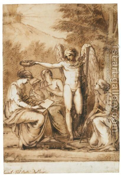 Allegoria Delle Arti La Fama Che Incorona La Poesia by Giovanni Battista Dell'era - Reproduction Oil Painting