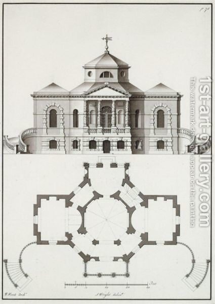 A Pair Of Architectural Drawings After Designs By William Kent by (after) Kent, William - Reproduction Oil Painting
