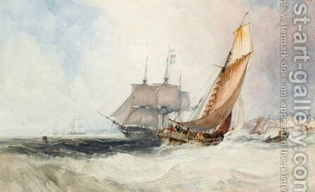 Shipping Off The Coast by Charles Bentley - Reproduction Oil Painting