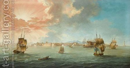 English, Danish And Swedish Merchantmen Amongst Mediterranean Craft Off The Port Of Leghorn, Gulf Of Genoa, At Sunset by (after) John The Younger Cleveley - Reproduction Oil Painting