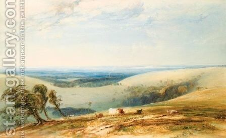Bow Hill On The Sussex Downs, Chichester And The Isle Of Wight Beyond by Anthony Vandyke Copley Fielding - Reproduction Oil Painting