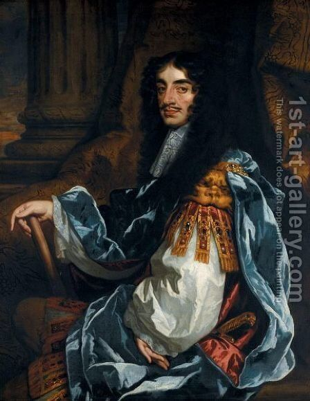 Portrait Of King Charles II 2 by (after) Sir Peter Lely - Reproduction Oil Painting