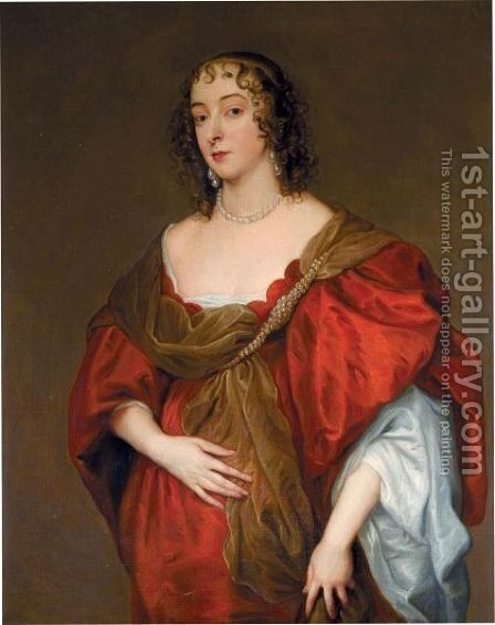 Portrait Of A Lady, Probably Elizabeth Howard, Granddaughter Of 1st Earl Of Suffolk by (after) Dyck, Sir Anthony van - Reproduction Oil Painting