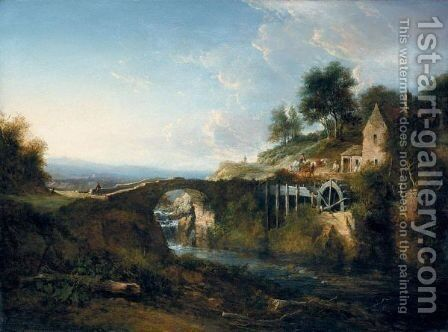 A Watermill In Angus-Shire by Alexander Nasmyth - Reproduction Oil Painting
