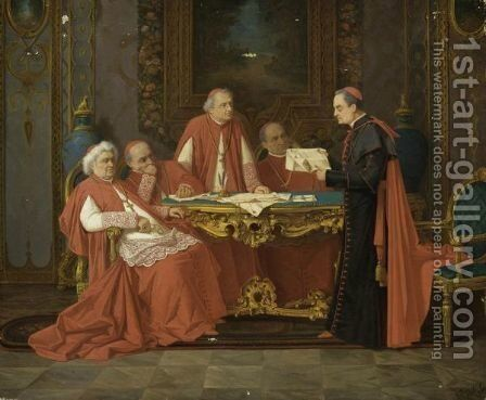 Cardinals' Conference by Alexander Rizzoni - Reproduction Oil Painting