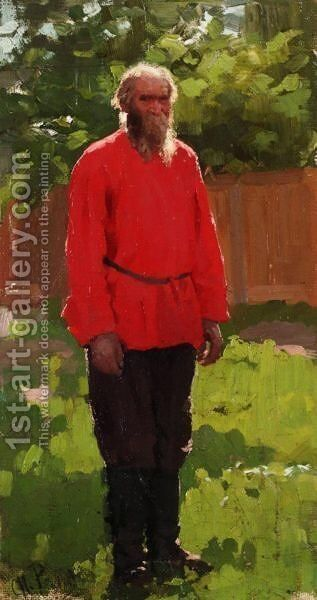 Russian Peasant by (after) Ilya Efimovich Efimovich Repin - Reproduction Oil Painting