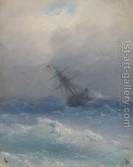 Ship On High Seas 2 by Ivan Konstantinovich Aivazovsky - Reproduction Oil Painting