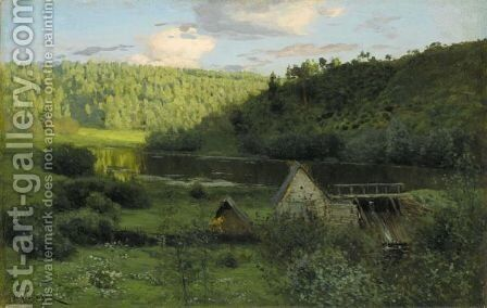 The Watermill, Sunset by Isaak Ilyich Levitan - Reproduction Oil Painting