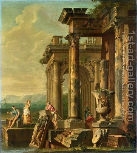 Capriccio Architettonico Con Rovine E Soldati by (after) Giovanni Paolo Panini - Reproduction Oil Painting