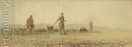 Shepherds With Their Sheep by Emilios Prosalentis - Reproduction Oil Painting