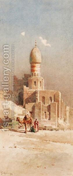 Camel And Arabs Before A Mosque by Angelos Giallina - Reproduction Oil Painting