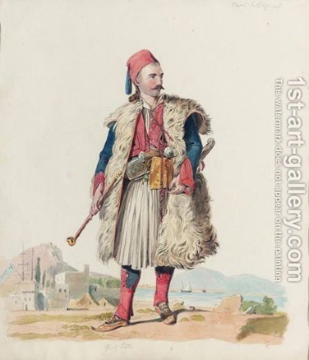 Greek Soldier In Nafplion by Continental School - Reproduction Oil Painting