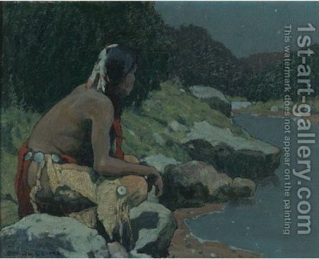 Moonlight On The Hondo by Eanger Irving Couse - Reproduction Oil Painting