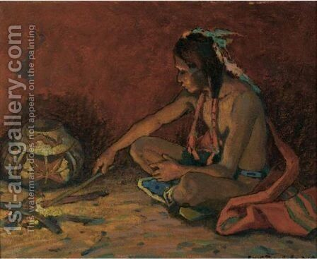 Pueblo Fireside by Eanger Irving Couse - Reproduction Oil Painting
