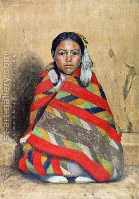 Indian Girl In A Blanket by Eanger Irving Couse - Reproduction Oil Painting